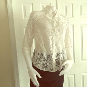 Coldwater Creek White Lace Blouse 8